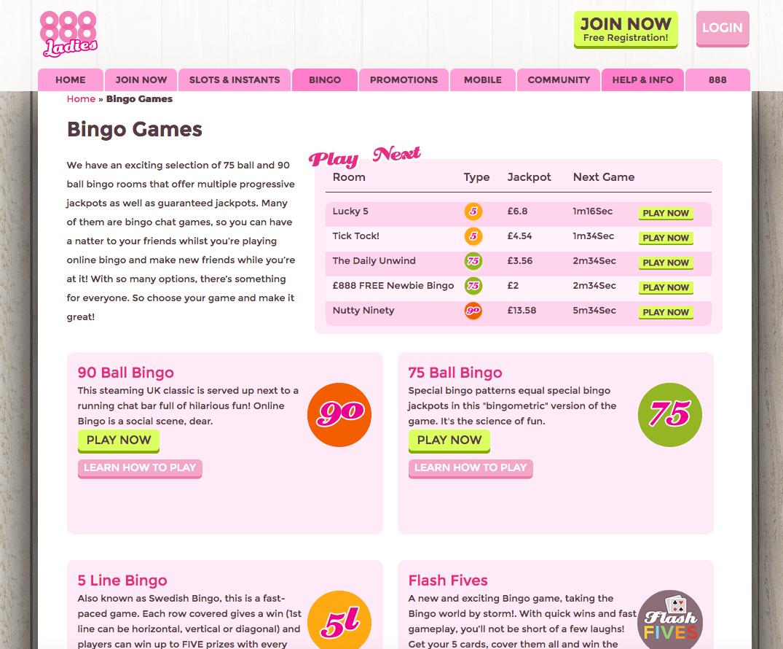 888 Ladies bingo rooms