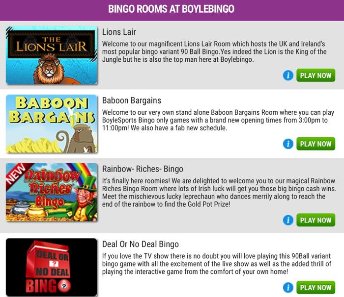 Bingo Games at Boyle Bingo